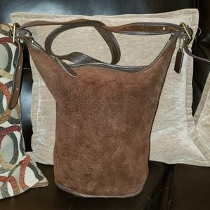 Vtg Chocolate All Suede/Leather Bucket Bag XL